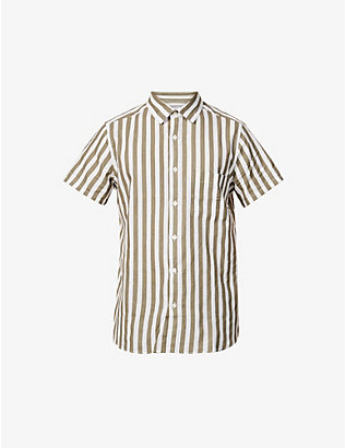 FRESCOBOL CARIOCA: Striped linen and cotton-blend short-sleeved shirt