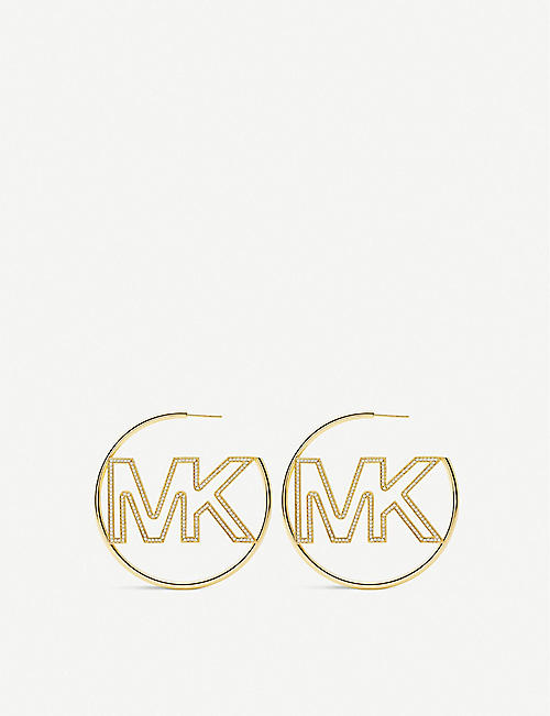 MICHAEL KORS: Logo-detail 14ct gold-plated sterling silver hoop earrings