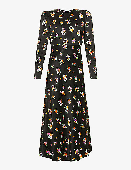 KITRI: Anna ditsy floral-print satin midi dress