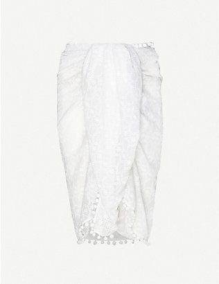 MELISSA ODABASH: Pareo embroidered woven sarong