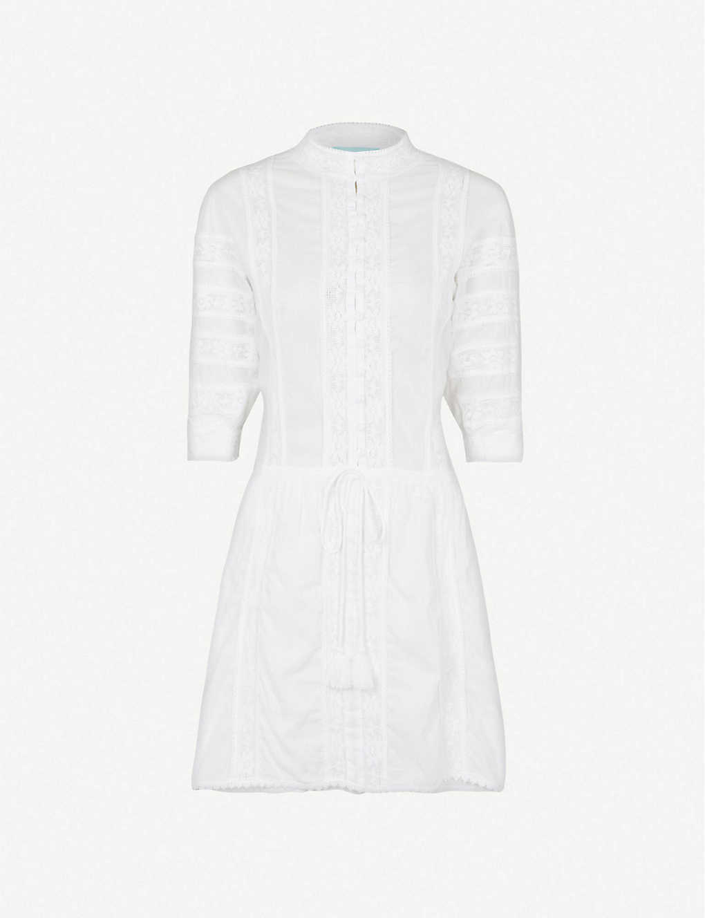 MELISSA ODABASH: Rita lace-trim cotton mini dress