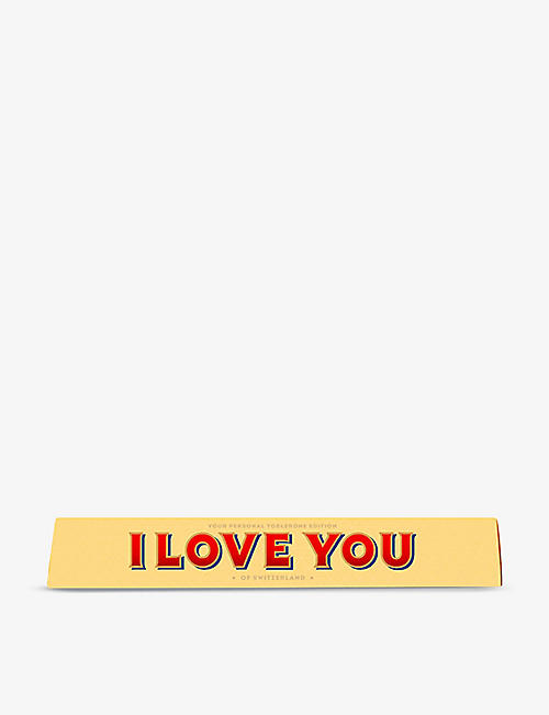 TOBLERONE: Toblerone I Love You milk chocolate and nougat bar 100g