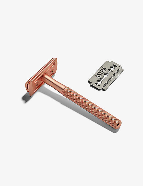 ZERO WASTE CLUB: Rose gold-tone stainless steel reusable safety razor