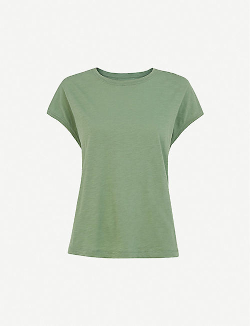 WHISTLES Minimal cap-sleeve cotton-jersey T-shirt