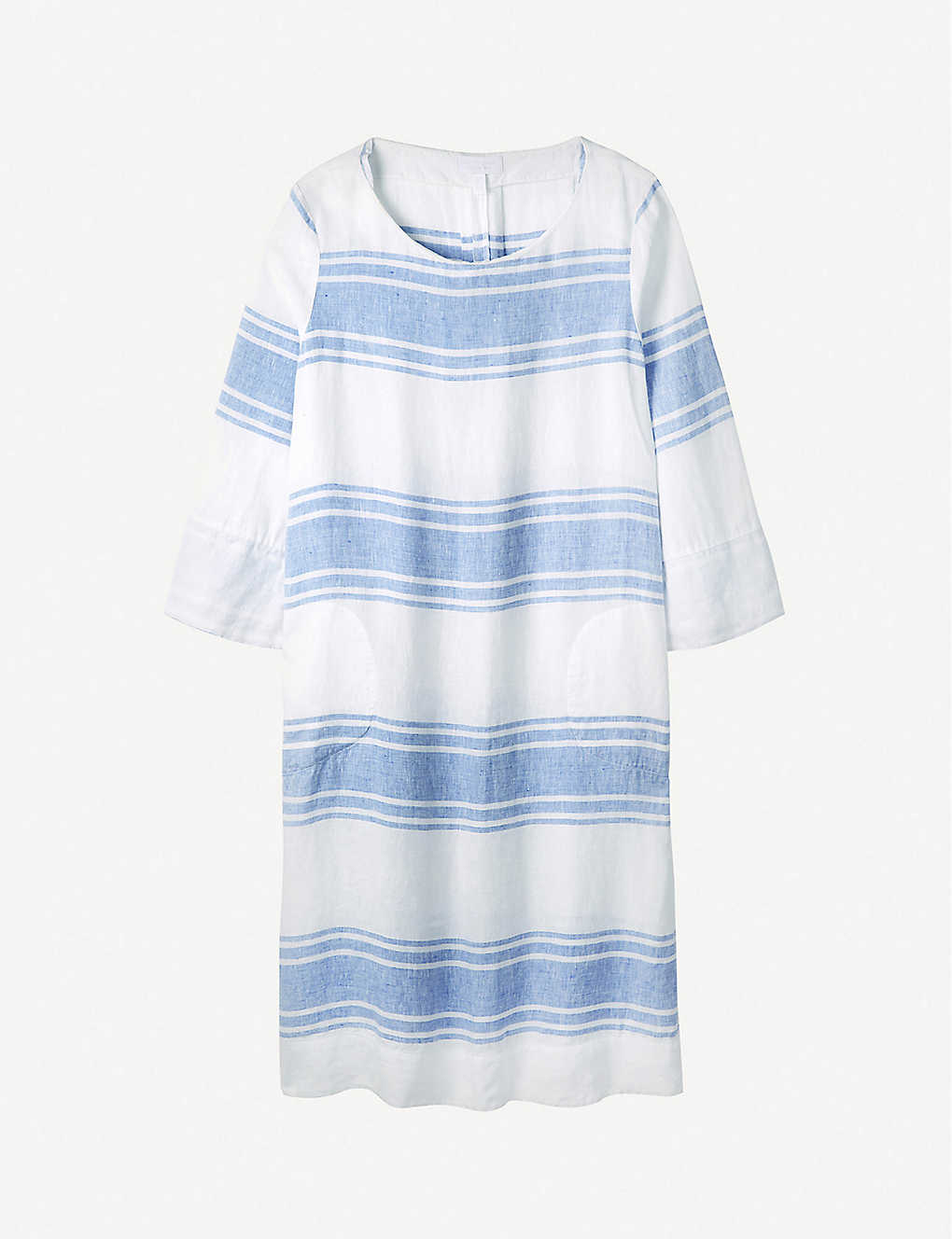 THE WHITE COMPANY: Striped boat-neck linen midi dress