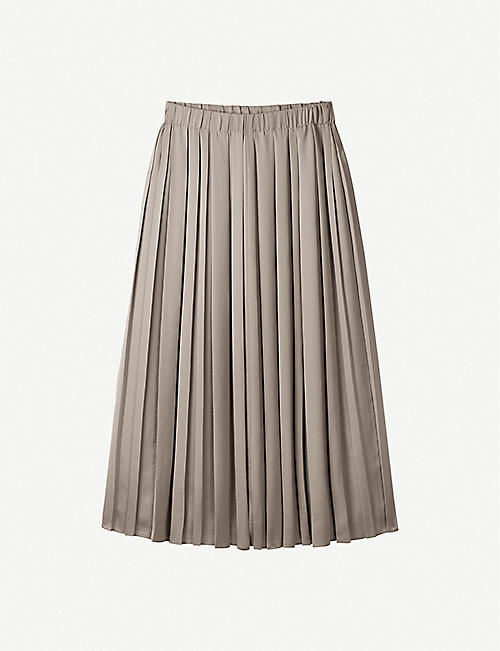 THE WHITE COMPANY: Pleated A-line crepe midi skirt