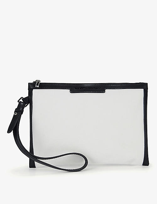 THE WHITE COMPANY: Logo-embossed leather-trimmed cotton pouch