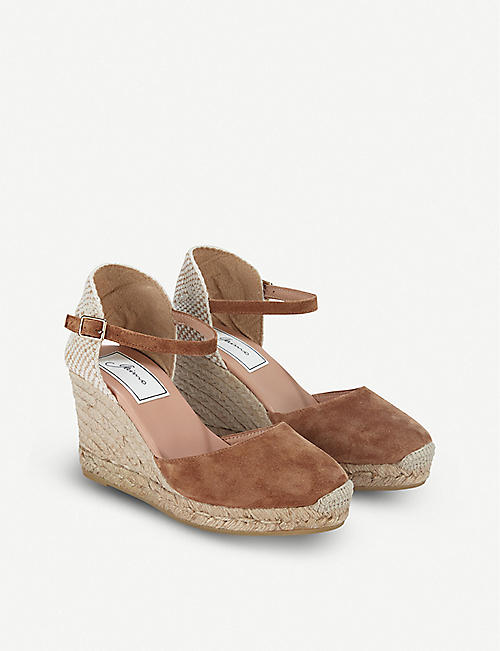 THE WHITE COMPANY: Contrast-panel suede wedge espadrilles