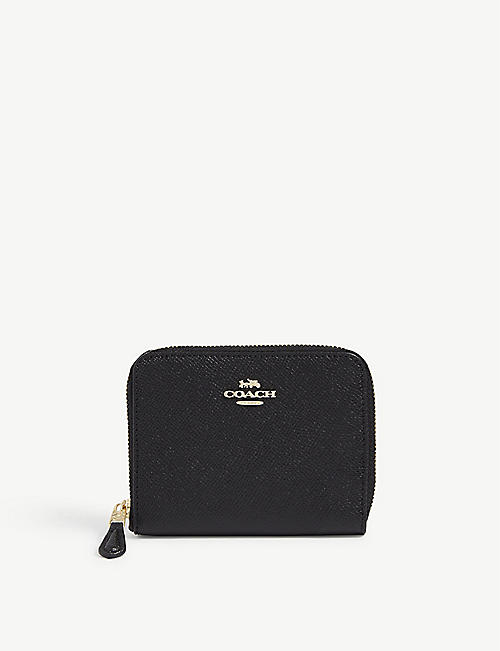 COACH: Logo-detail small leather zip-around wallet