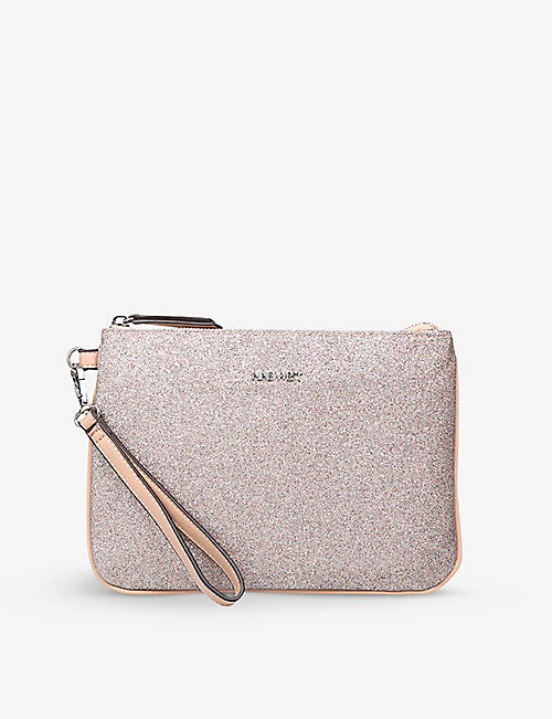 NINE WEST: Kylian metallic woven zip-up pouch