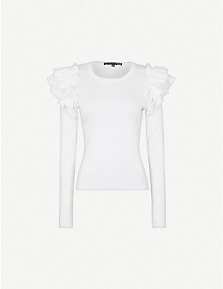 VERONICA BEARD: Segrist ruffle-trim stretch-cotton top