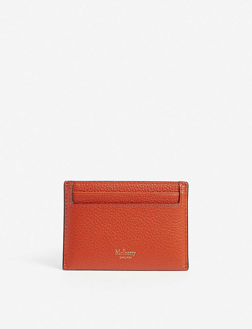 MULBERRY: Logo pebbled-leather card holder