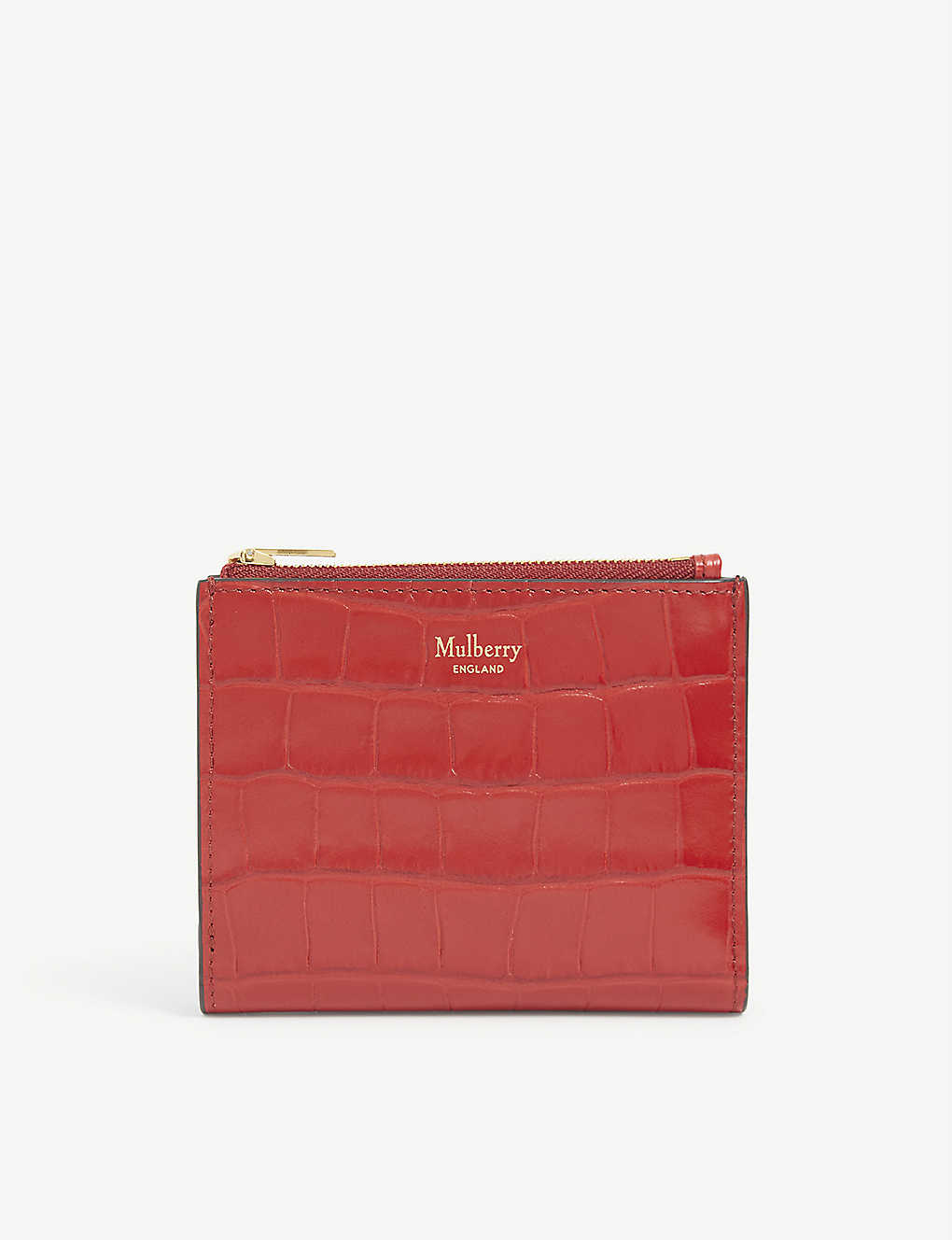 MULBERRY: Zip crocodile-embossed leather wallet