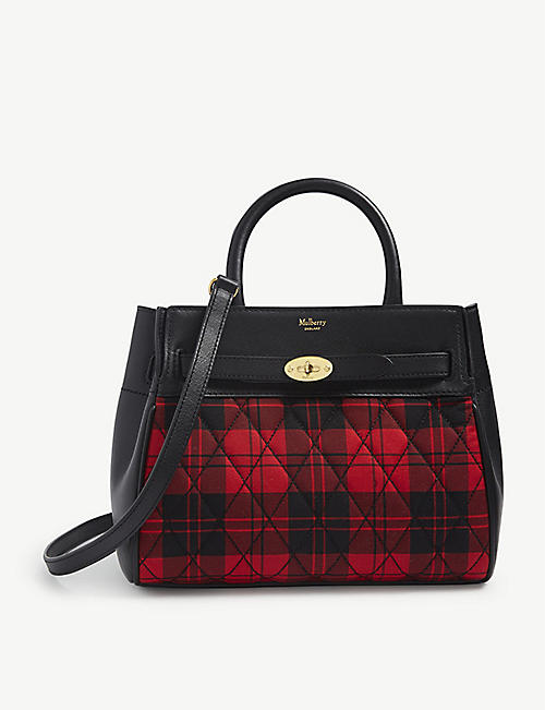 MULBERRY: Bayswater small tartan cotton-canvas and leather tote bag