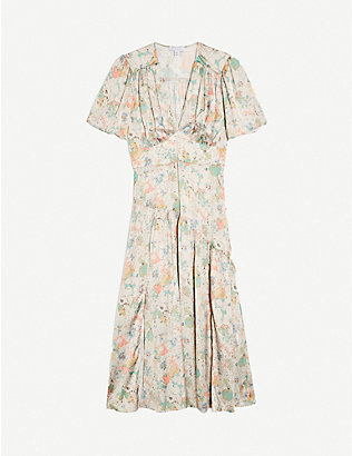 TOPSHOP: Willow floral-print satin midi dress