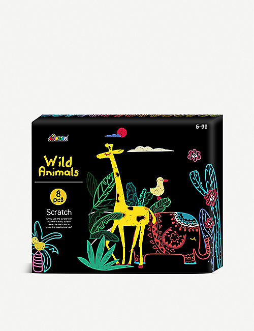 AVENIR: Scratch Art Wild Animals activity pack
