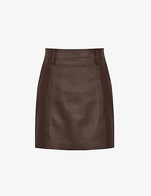 REISS: Eliza leather mini skirtg