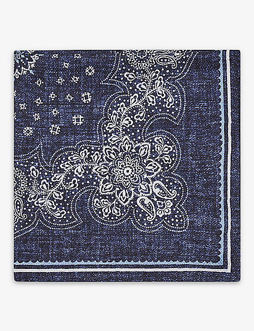 REISS: Bologna graphic-print silk pocket square
