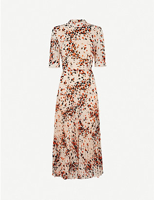 WHISTLES: Animal-print pleated woven dress