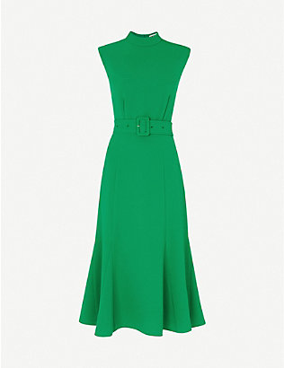 WHISTLES: Penny belted crepe midi dress