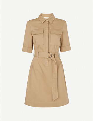 WHISTLES: Gemma belted cotton-blend mini dress