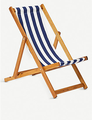 THE CONRAN SHOP: Teak and striped cotton deck chair