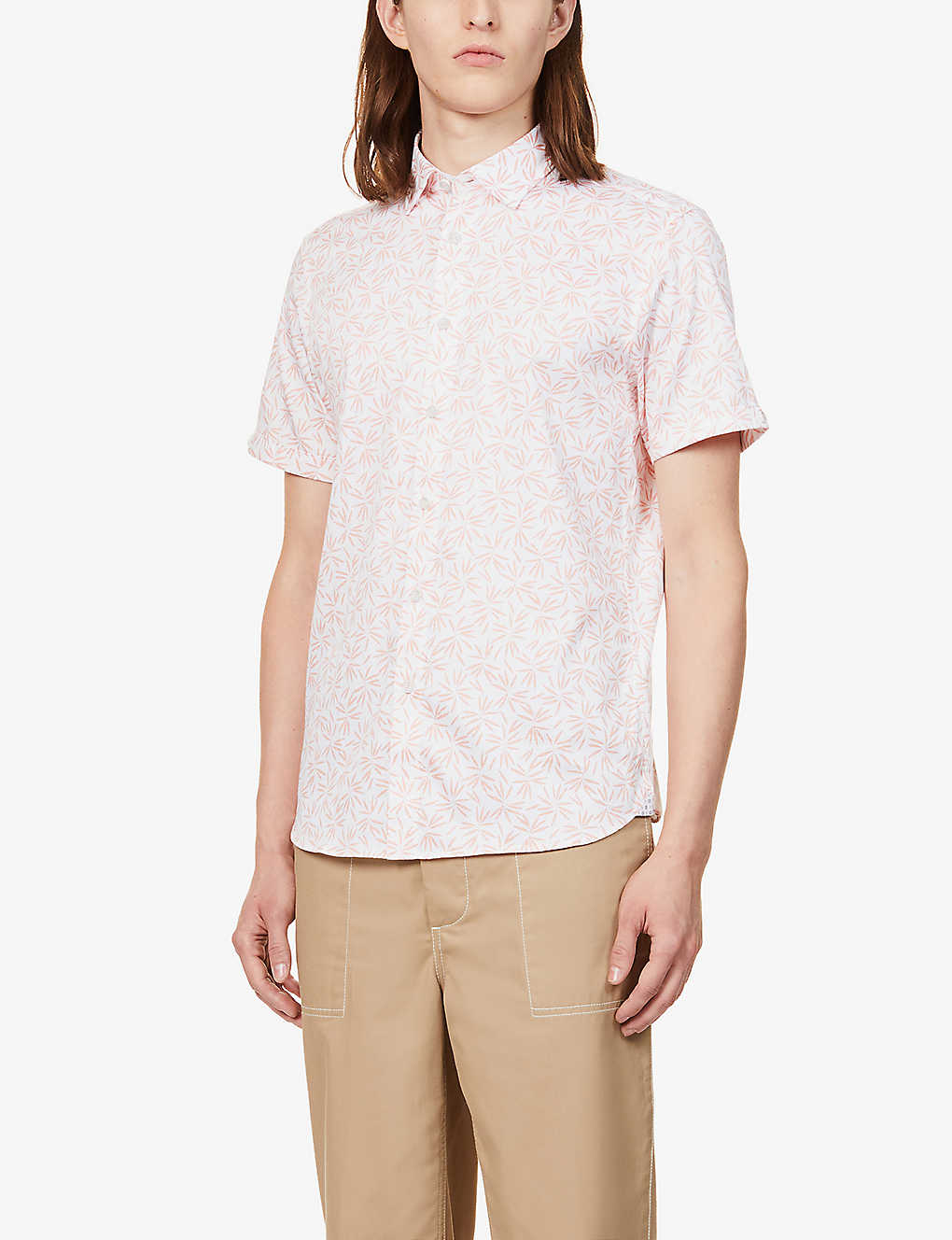 TED BAKER: Graphic-print stretch-cotton shirt