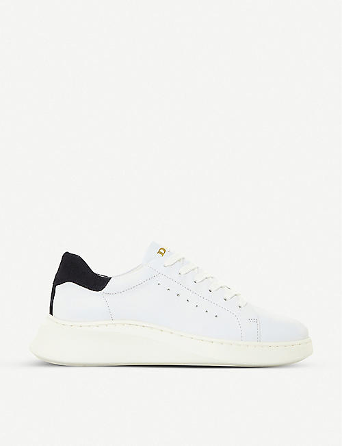 DUNE: Evia lace-up leather trainers