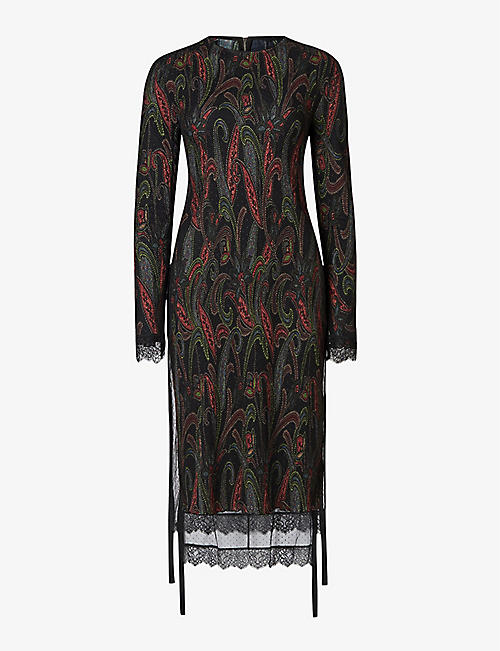 ALLSAINTS: Kiara layered lace-trimmed graphic-print woven midi dress
