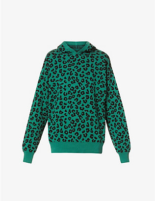JUST DON: Animal-print cotton and cashmere-blend hoody