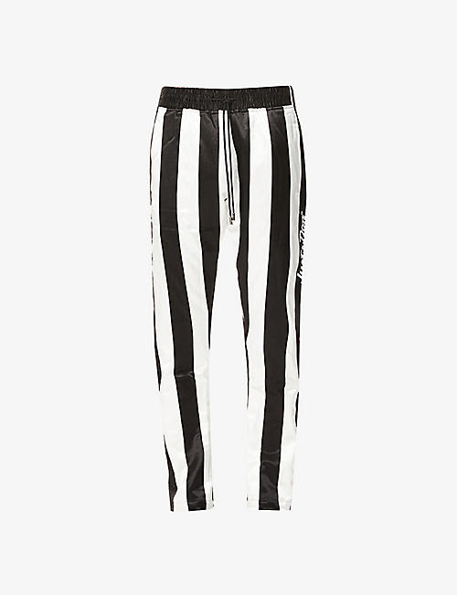 JUST DON: Striped tearaway satin trousers