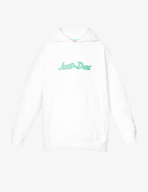 JUST DON: Logo-embroidered cotton-jersey hoody