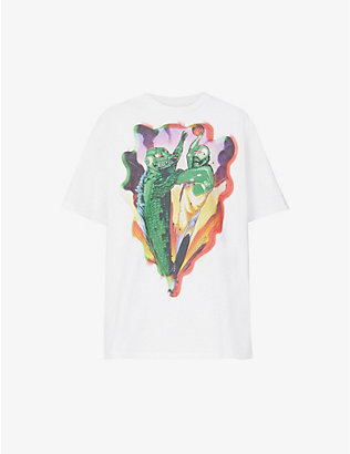 JUST DON: Graphic-print cotton-jersey T-shirt