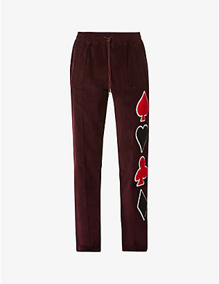 JUST DON: Dealers graphic-print straight corduroy trousers