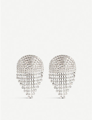 ALESSANDRA RICH: Fringed crystal-embellished drop earrings