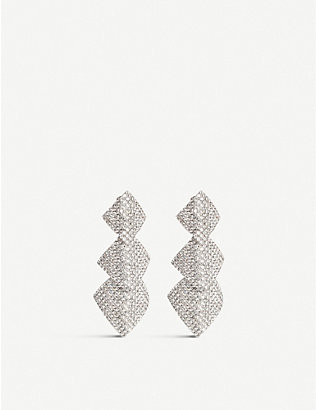 ALESSANDRA RICH: Crystal-embellished square drop earrings