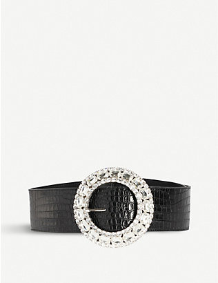 ALESSANDRA RICH: Crystal-embellished leather belt