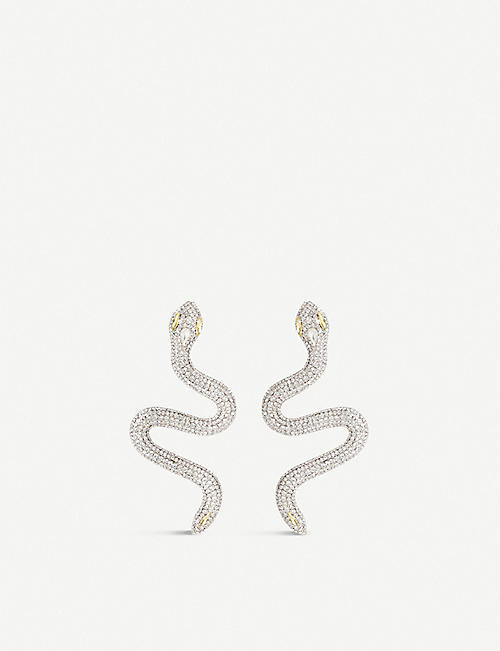ALESSANDRA RICH: Crystal-embellished snake earrings