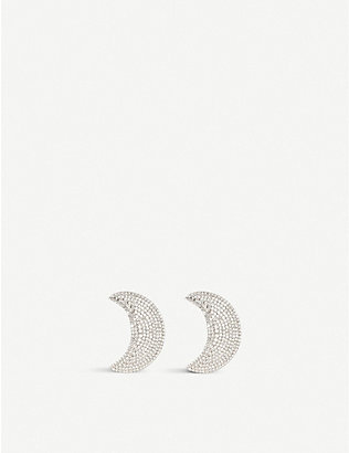 ALESSANDRA RICH: Crystal-embellished moon-shaped rhodium-plated brass earrings