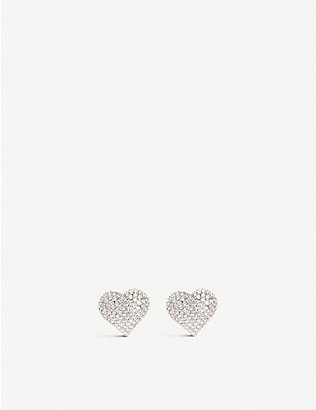ALESSANDRA RICH: Crystal-embellished heart-shaped rhodium-plated brass earrings
