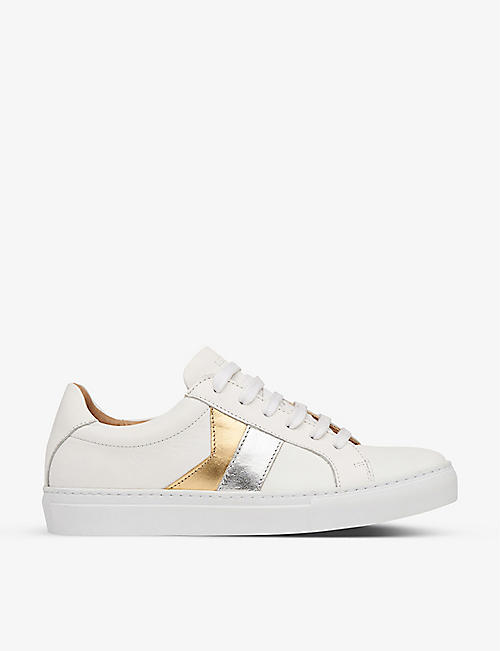 LK BENNETT: Alivia stripe-detail leather trainers