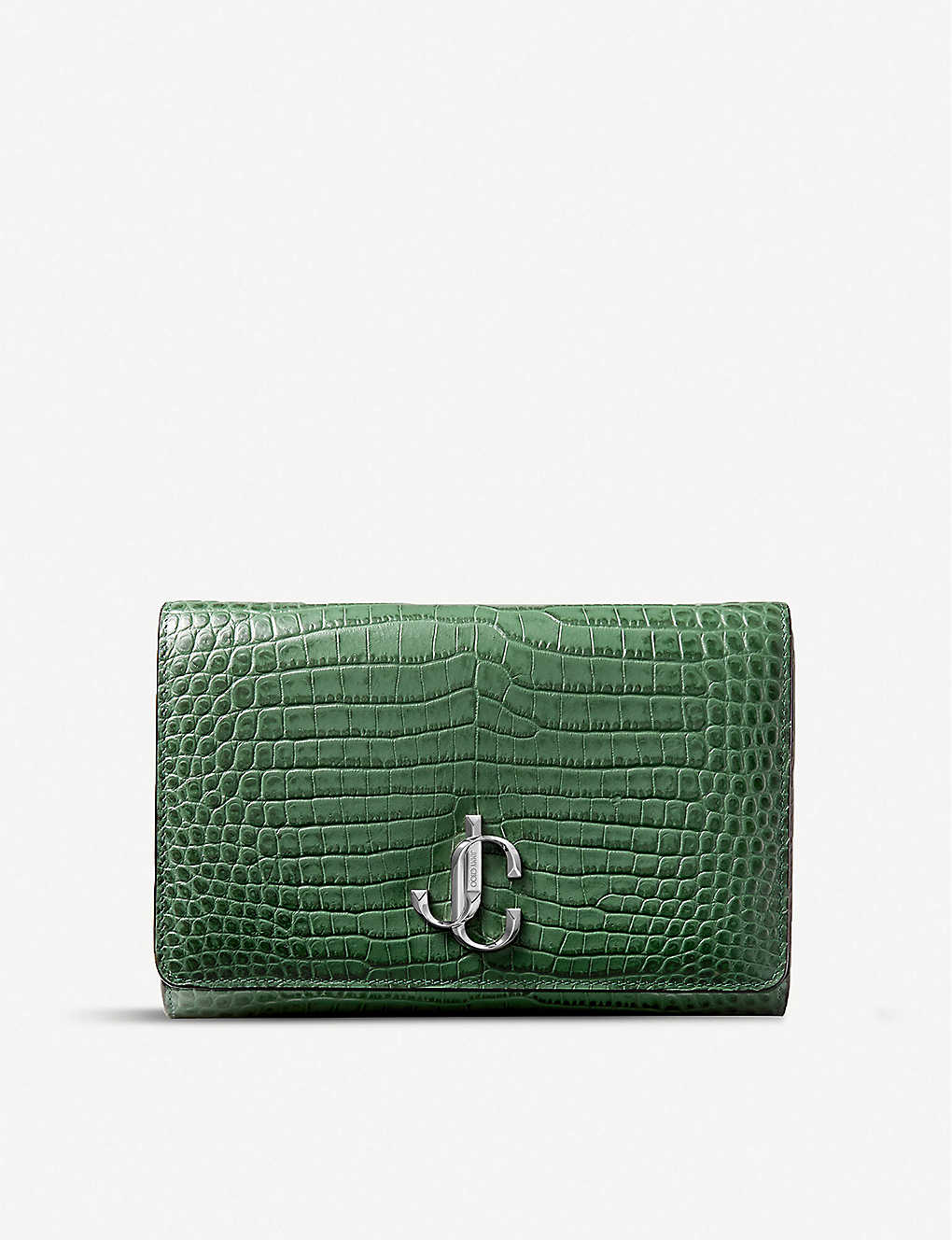 JIMMY CHOO: Varenne croc-embossed leather clutch