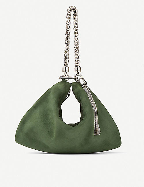 JIMMY CHOO: Callie suede clutch bag