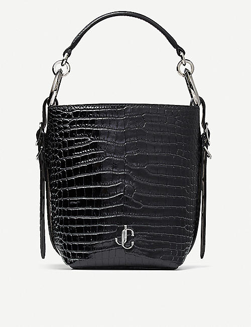JIMMY CHOO: Varenne croc-embossed leather bucket handbag