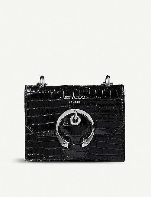 JIMMY CHOO: Paris mini croc-embossed leather cross-body bag