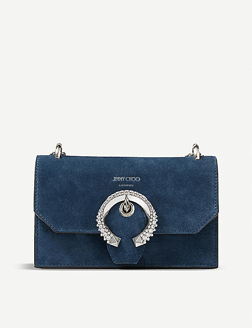 JIMMY CHOO: Paris crystal-embellished suede cross-body bag
