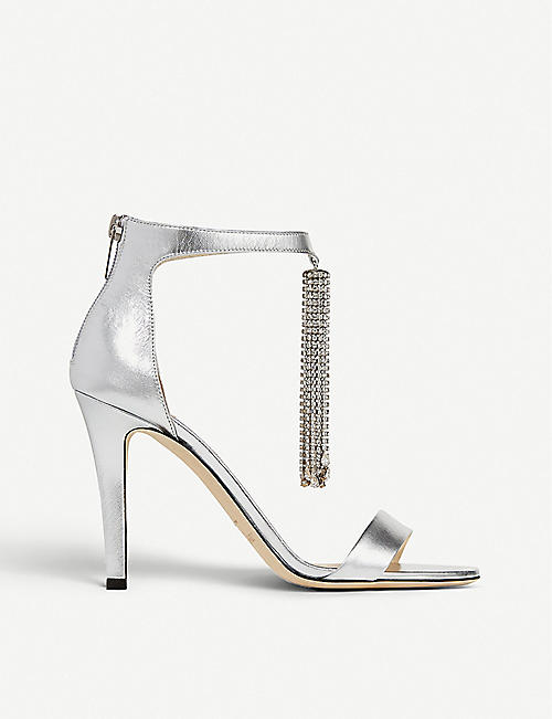 JIMMY CHOO: Viola 100 crystal leather heeled sandals
