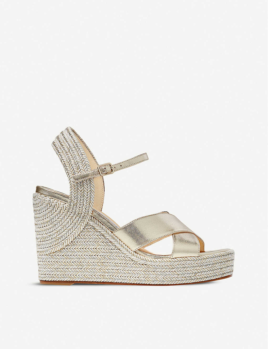 JIMMY CHOO: Dellena 100 metallic leather wedge sandals