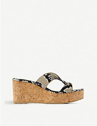 JIMMY CHOO: Atia 75 snake-print leather platform wedge sandals