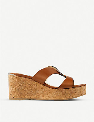 JIMMY CHOO: Atia 75 platform leather wedge sandals